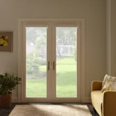 Cell Shades on French Doors - Open