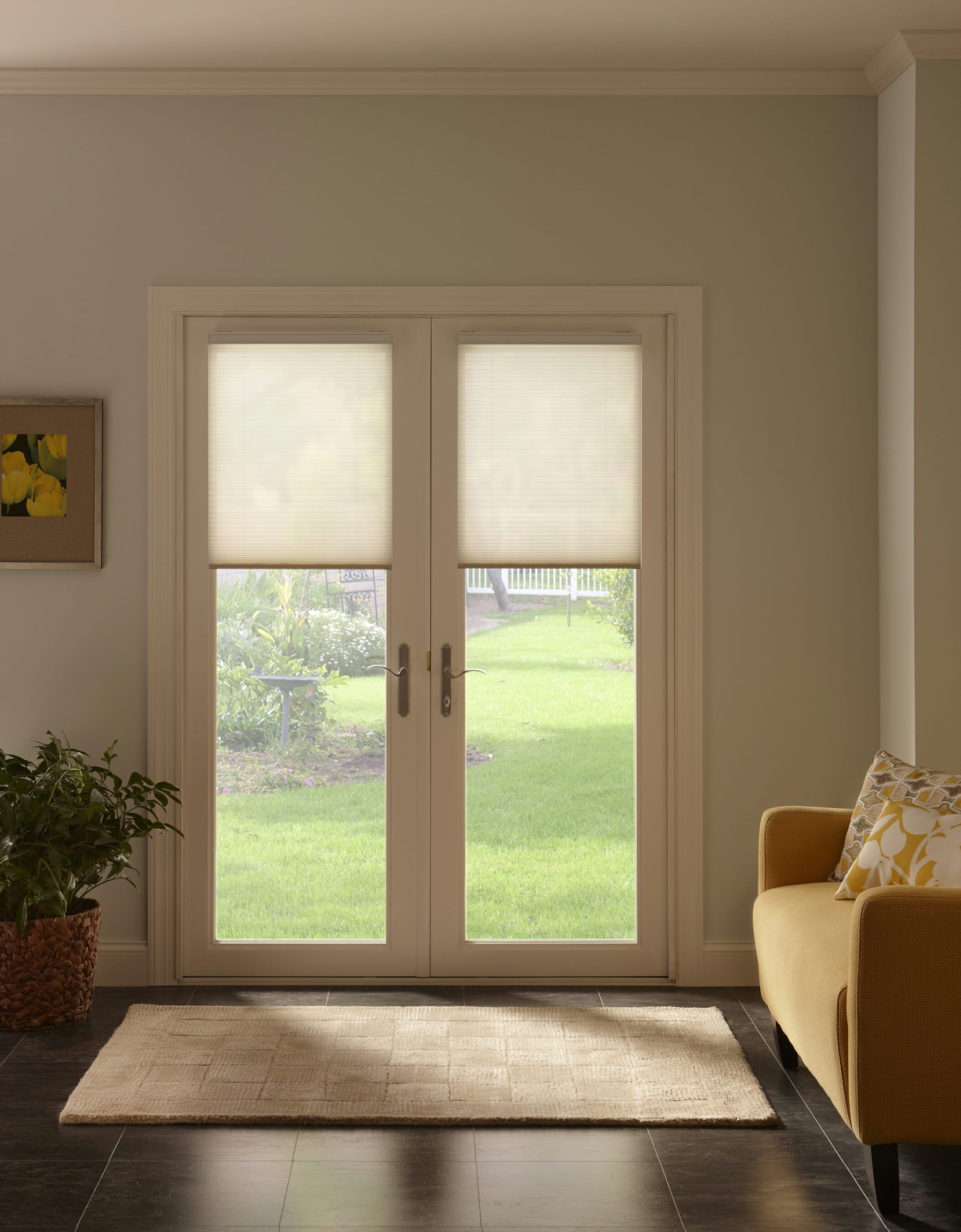 Window treatment ideas for doors 3 blind mice cell shades on french doors eventelaan Images