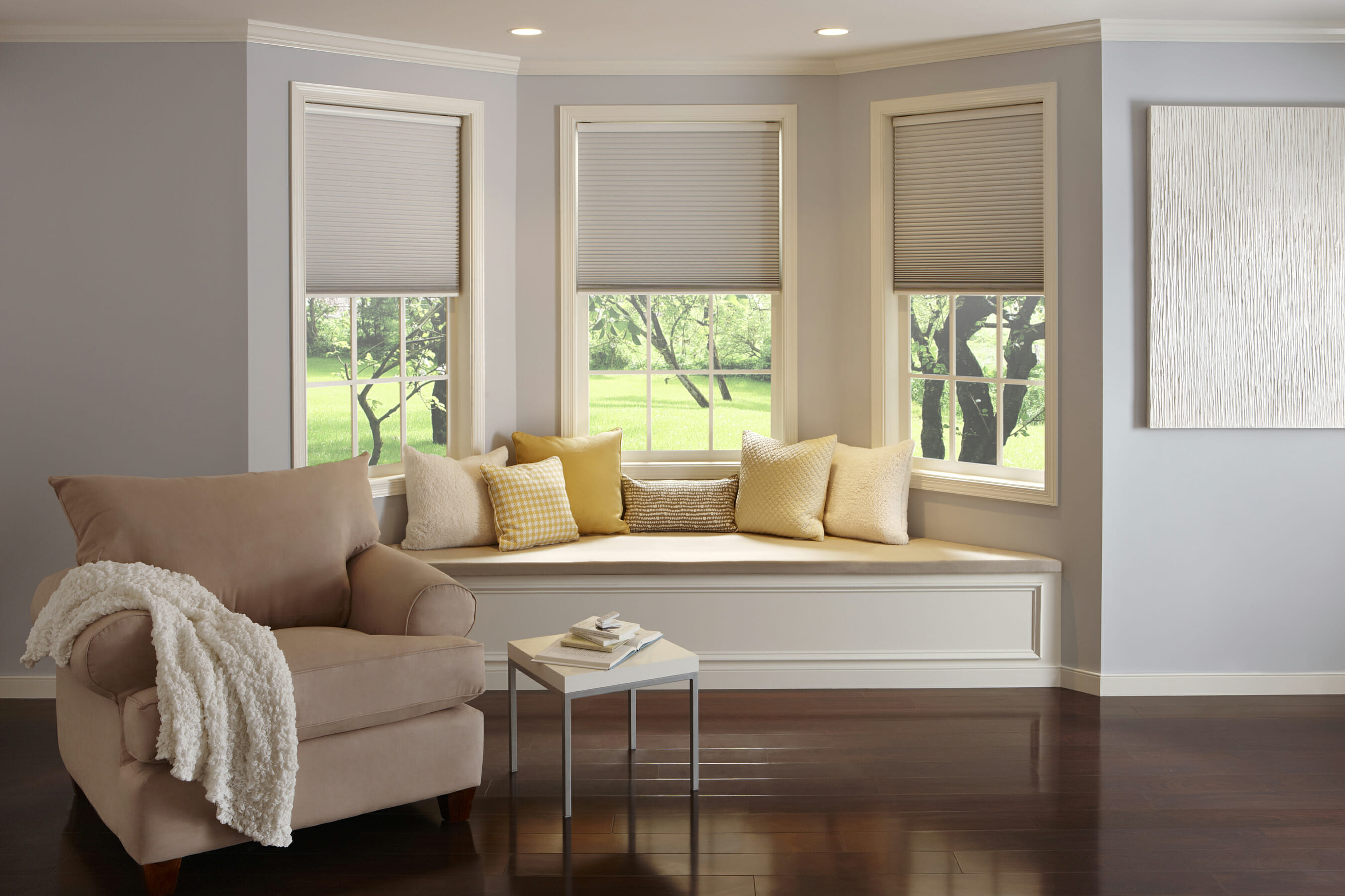 Cellular shades 3 blind mice window coverings for Living room window blinds