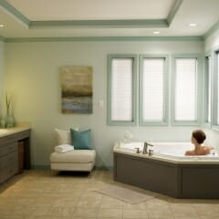 Motorized Cell Shades in Bathroom