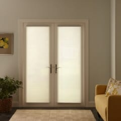 Cell Shades on French Doors - Down