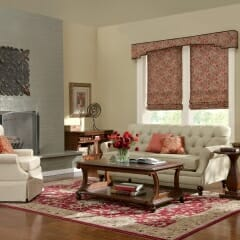 Roman Shades With A Matching Cornice