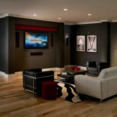 Motorized Drapes For A TV Room Open