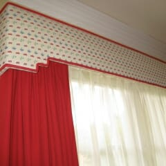 Padded Cornice Box With Dual Traversing Blackout Drapes And Sheer Curtains