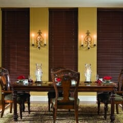 Faux Wood Blinds With A Matching Valance