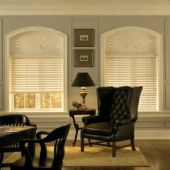 Faux Wood Blinds With Custom Arch Sunburst