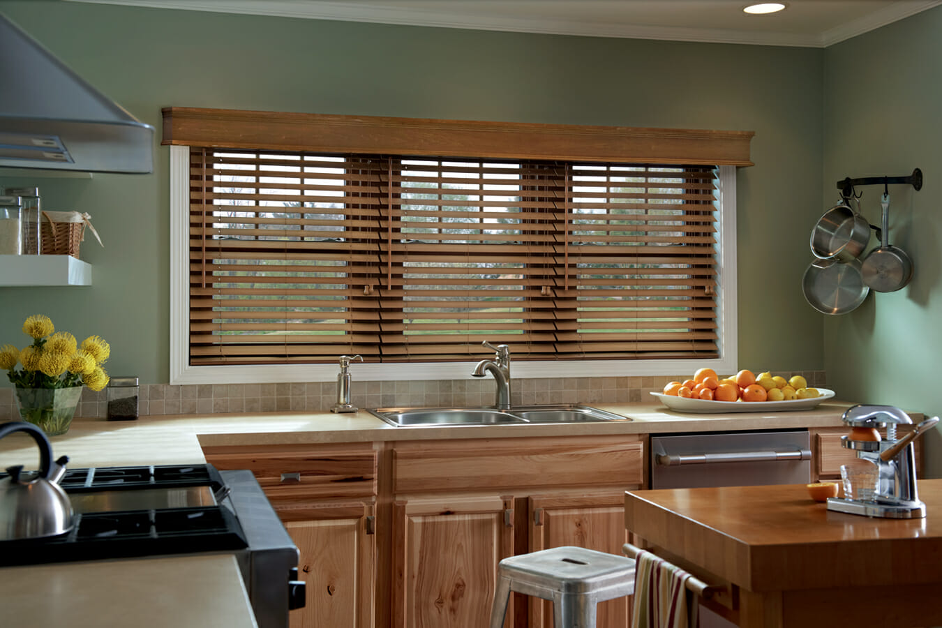 faux wood blinds for the kitchen - Kitchen Window Ideas