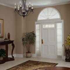 Faux Wood Blinds With Valance On Sidelights And Custom Faux Arch