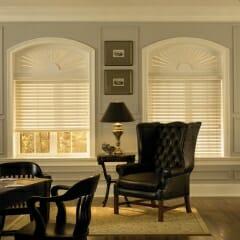 Faux Wood Blinds With Custom Arch Sunburst
