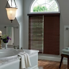 Faux Wood Blinds With An Open And Closed View
