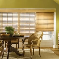 Faux Wood Blinds Open And Closed With A Beautiful Wood Cornice