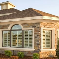 View from Outside of Polycore Faux Wood Shutters from Sunland Shutters-2