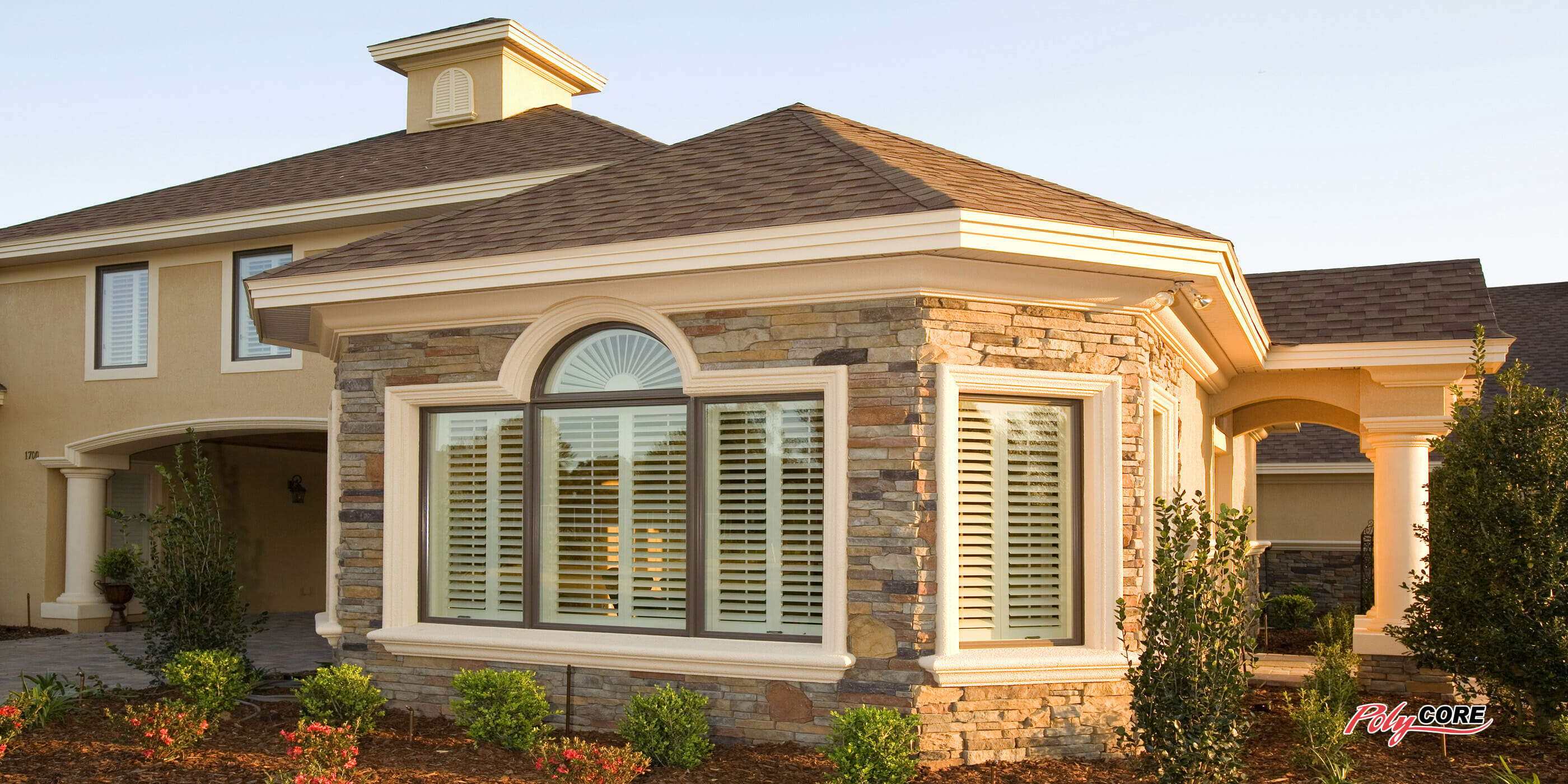 Real wood vs faux wood blinds - View From Outside Of Polycore Faux Wood Shutters From Sunland Shutters 2
