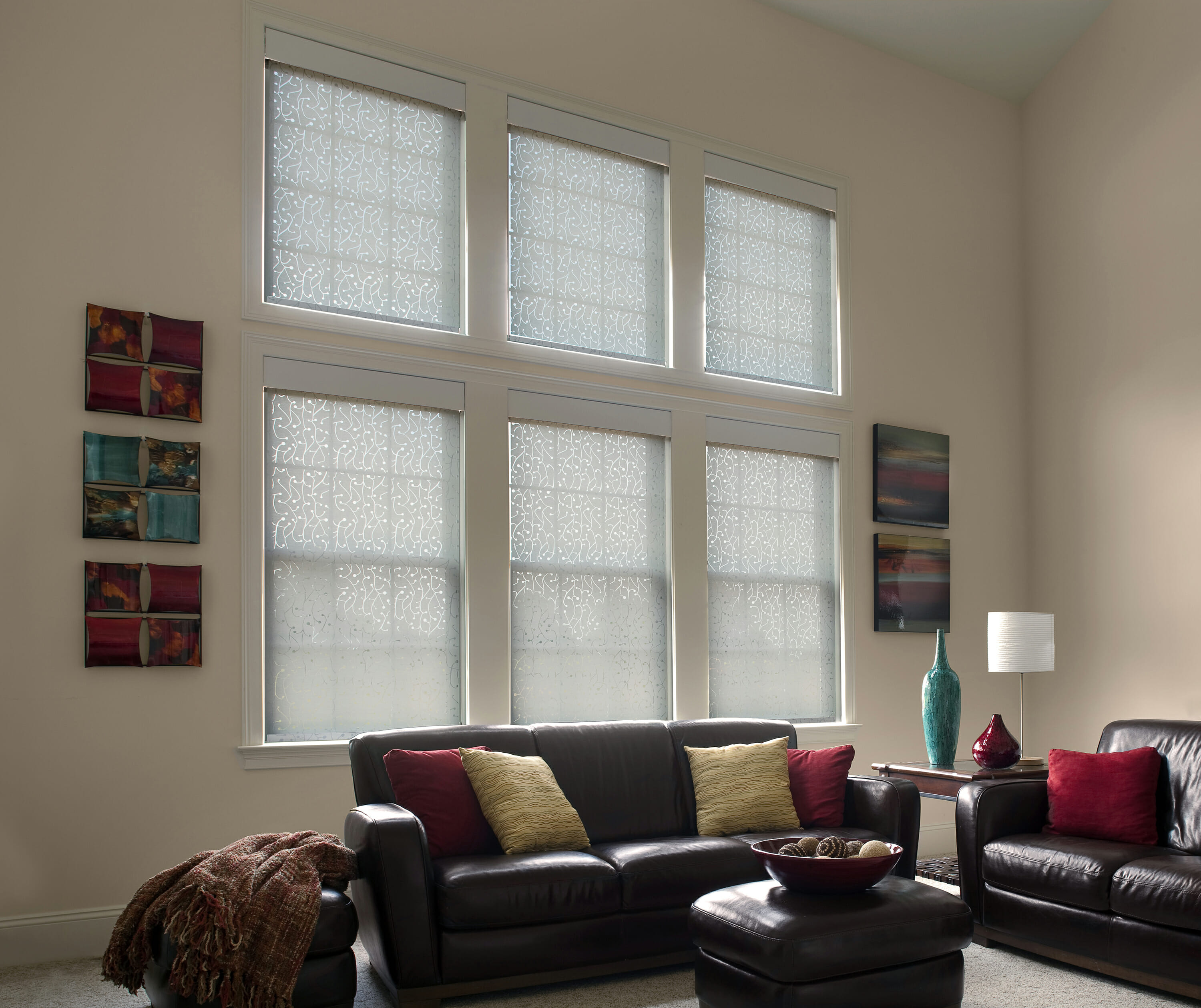Dual Roller Shades With Privacy Shade Drawn From Lutron