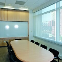 Mesh Dual Roller Shade In A Conference Room
