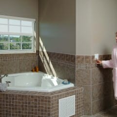 Motorized Somfy Blinds in Bathroom