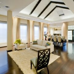 Somfy Motorized Roll Shades on Skylight in Dining Room