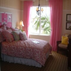 Pink Sheers With Tie Back In Girls Room