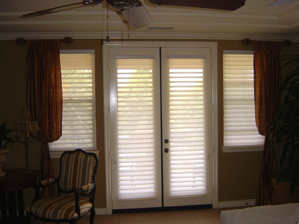 hunter douglas silhouette shades on french doors combined with drapery treatments - Window Treatment Ideas