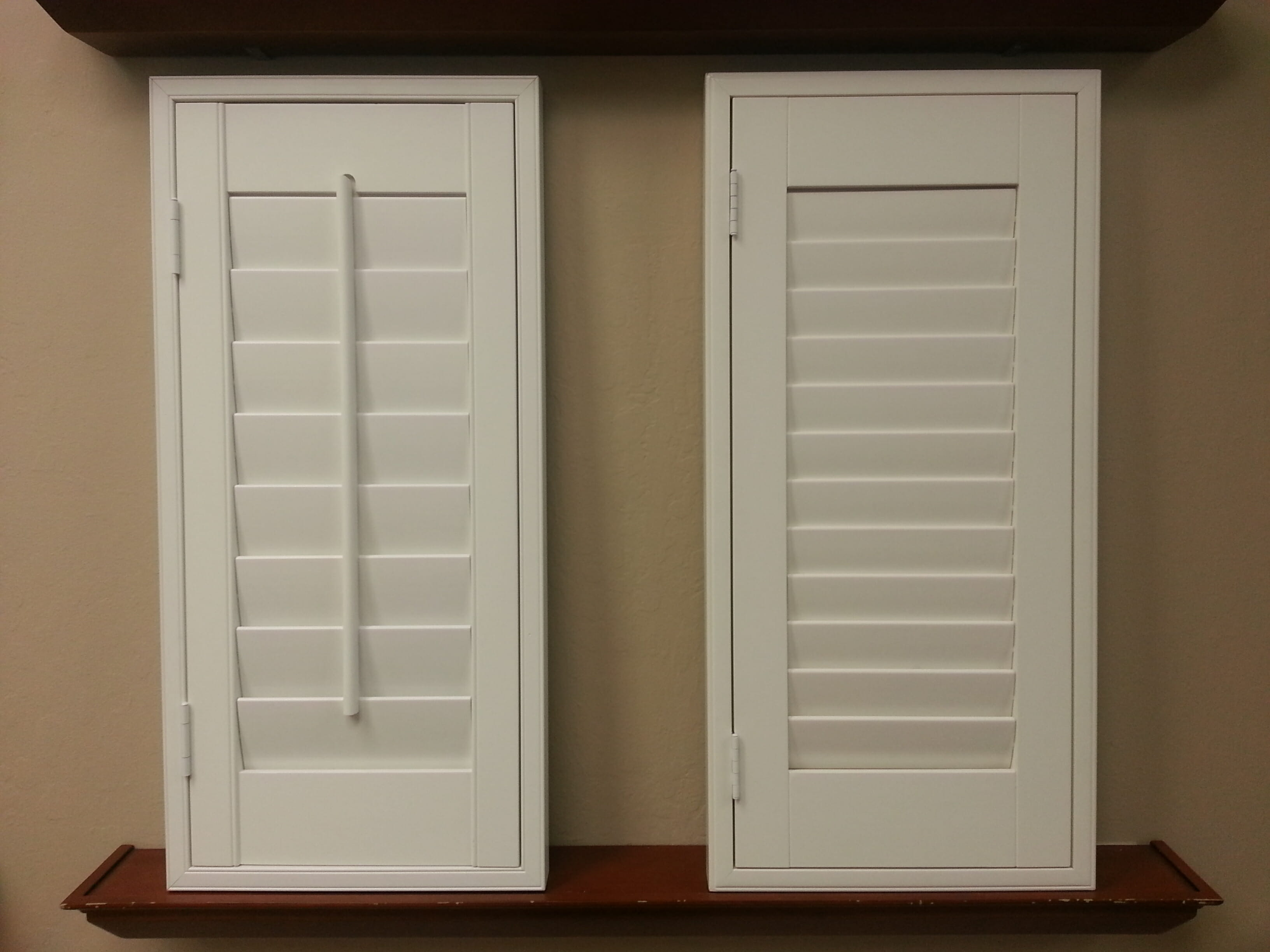Plantation shutters 3 blind mice window coverings for Window shutters
