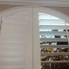 Fully Framed Arched Wood Shutter With Standard Tilt Bars