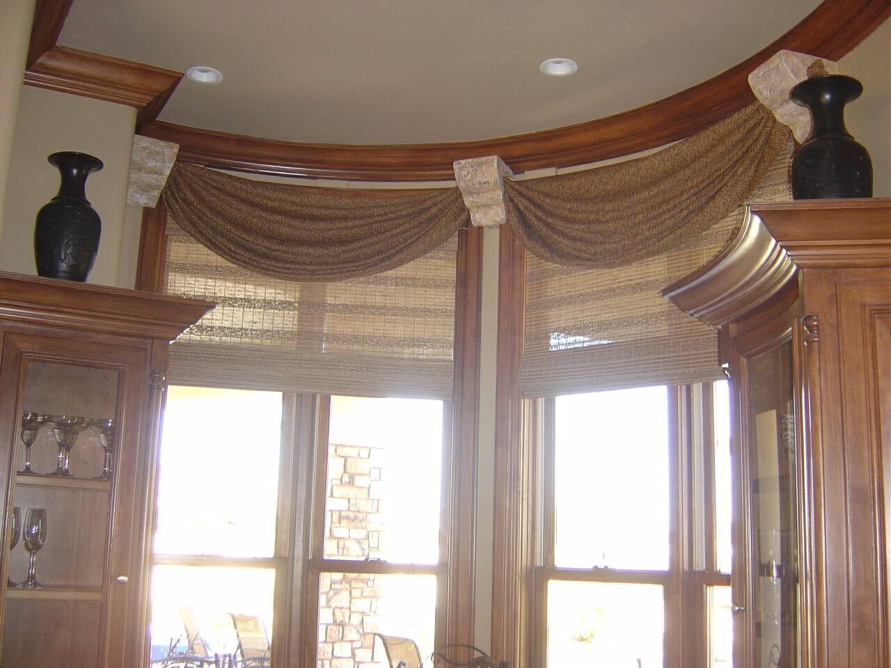 Wooden Window Valances : Woven wood shades with custom valances