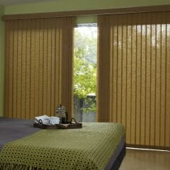 Vertical Blinds With Matching Cornice in Bedroom - Open