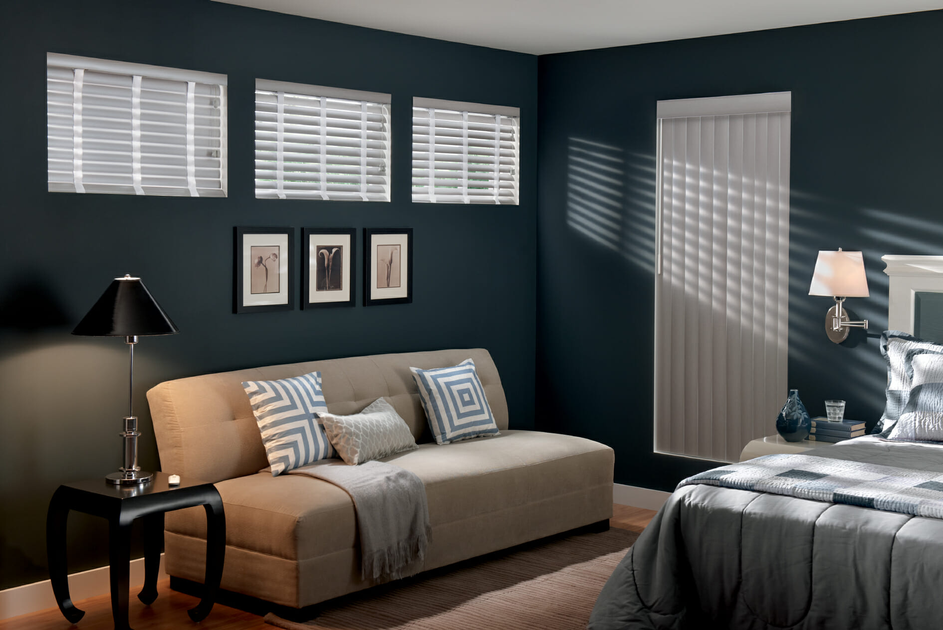 Vertical blinds 3 blind mice window coverings for Best blinds for bedroom