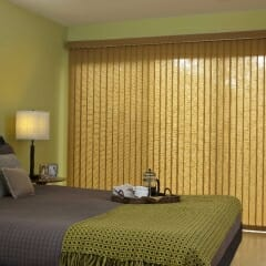 Vertical Blinds With Matching Cornice in Bedroom - Closed