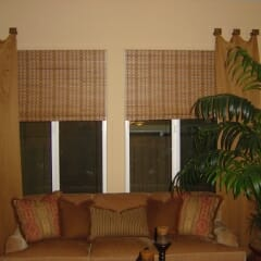 Woven Woods With Stationary Drapery Panels