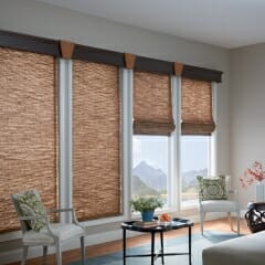 Woven Wood Shades With A Wood Valance