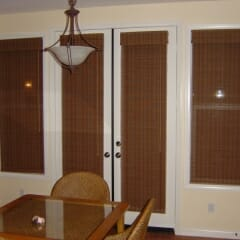 Grass Cloth Shades On French Doors In Nook