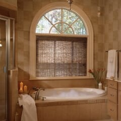 Woven Wood Shades Offer Privacy and Style for the Bathroom
