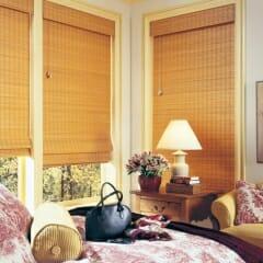 Woven Wood In Cased Windows Bedroom