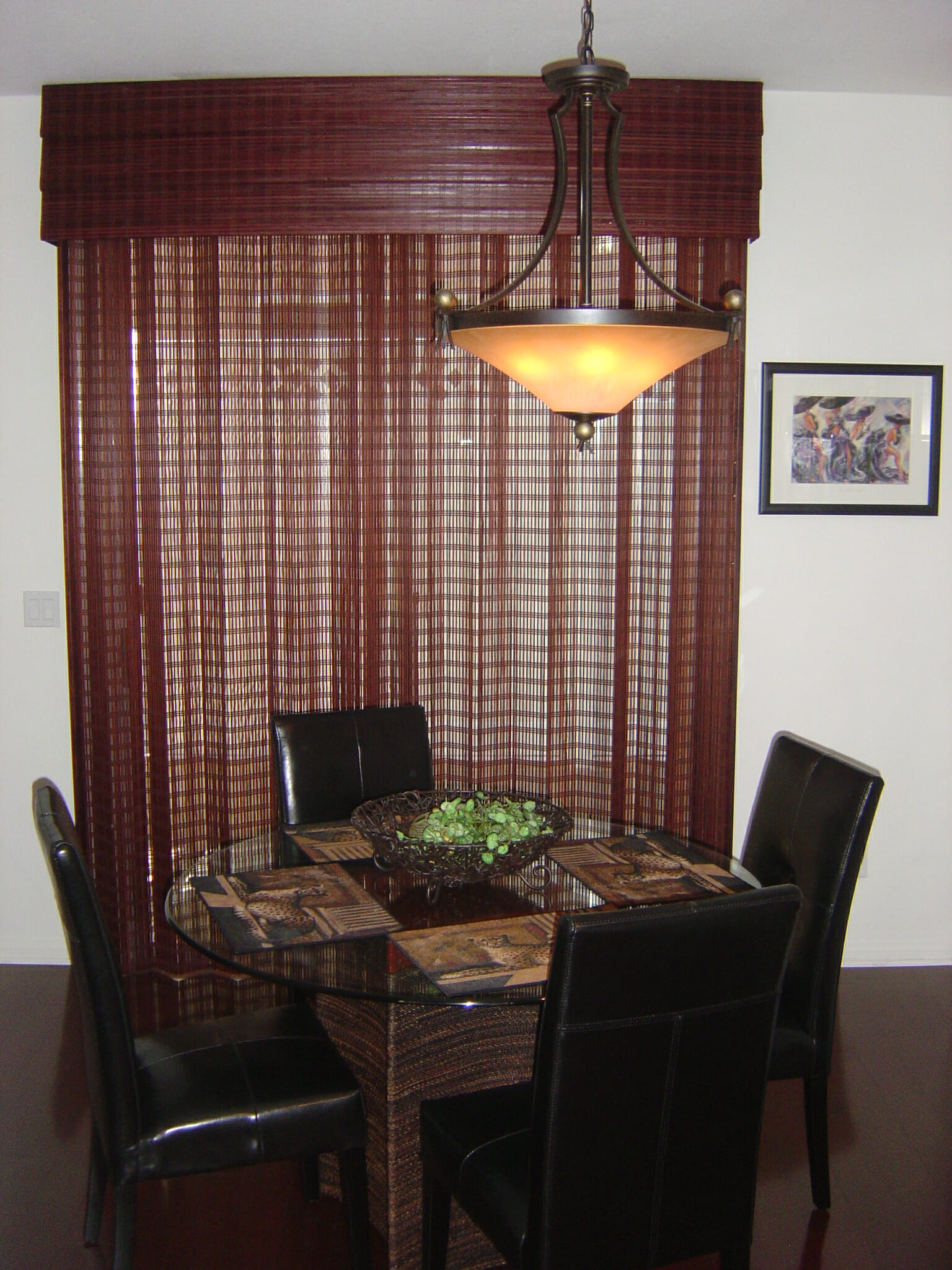Woven Wood Drapery Over A Sliding Glass Door With A Triple