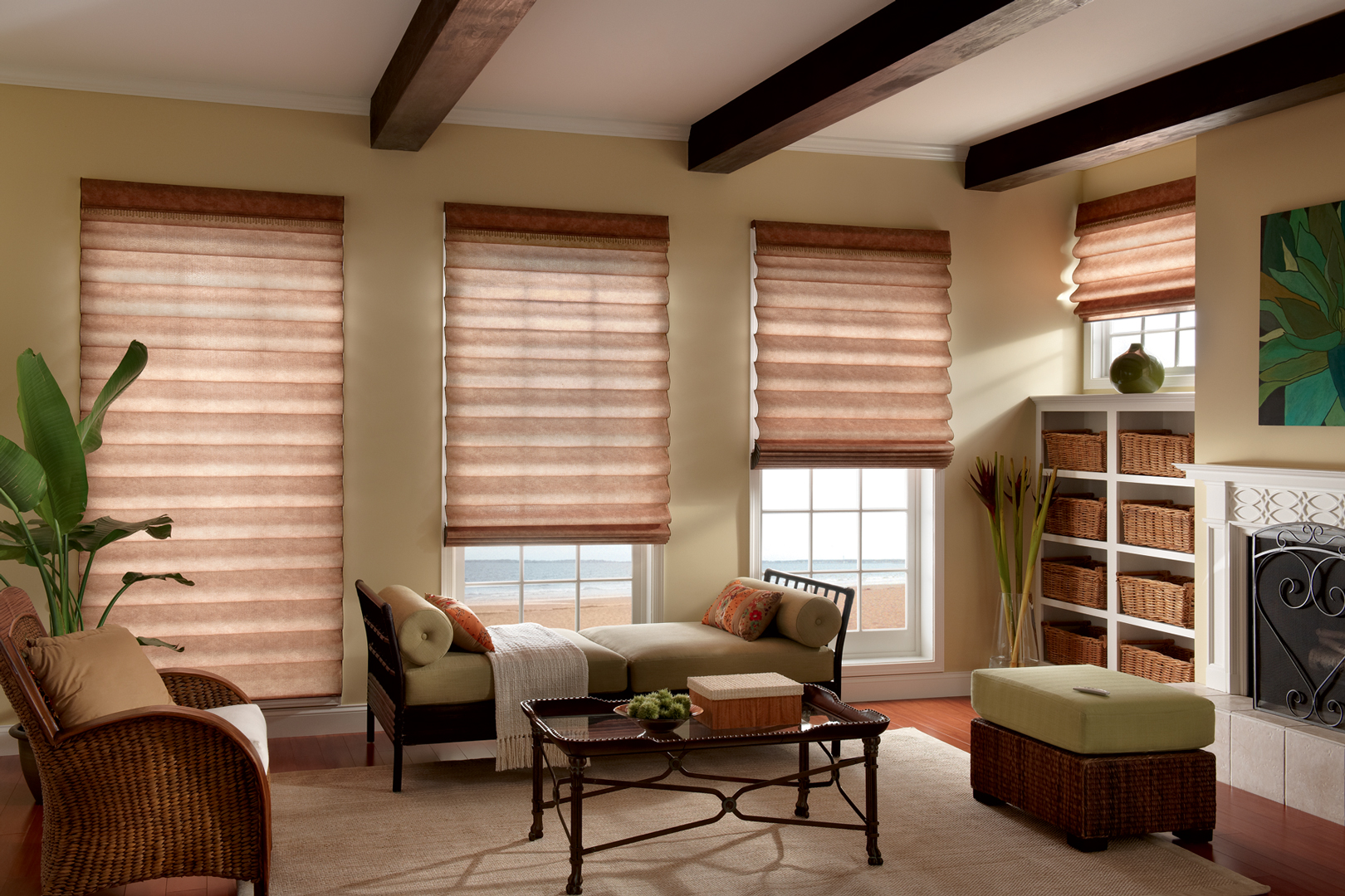 Roman shades 3 blind mice window coverings for Shades and window treatments