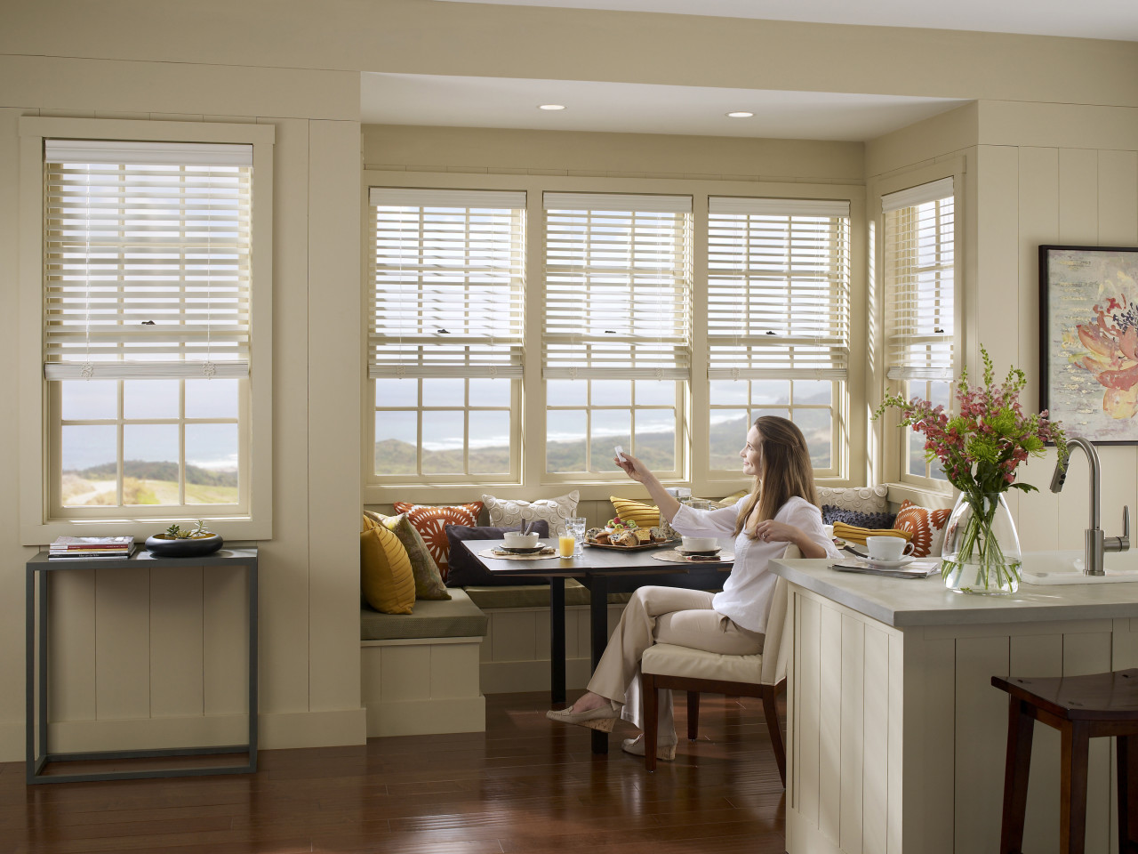Motorized Window Blinds in Kitchen