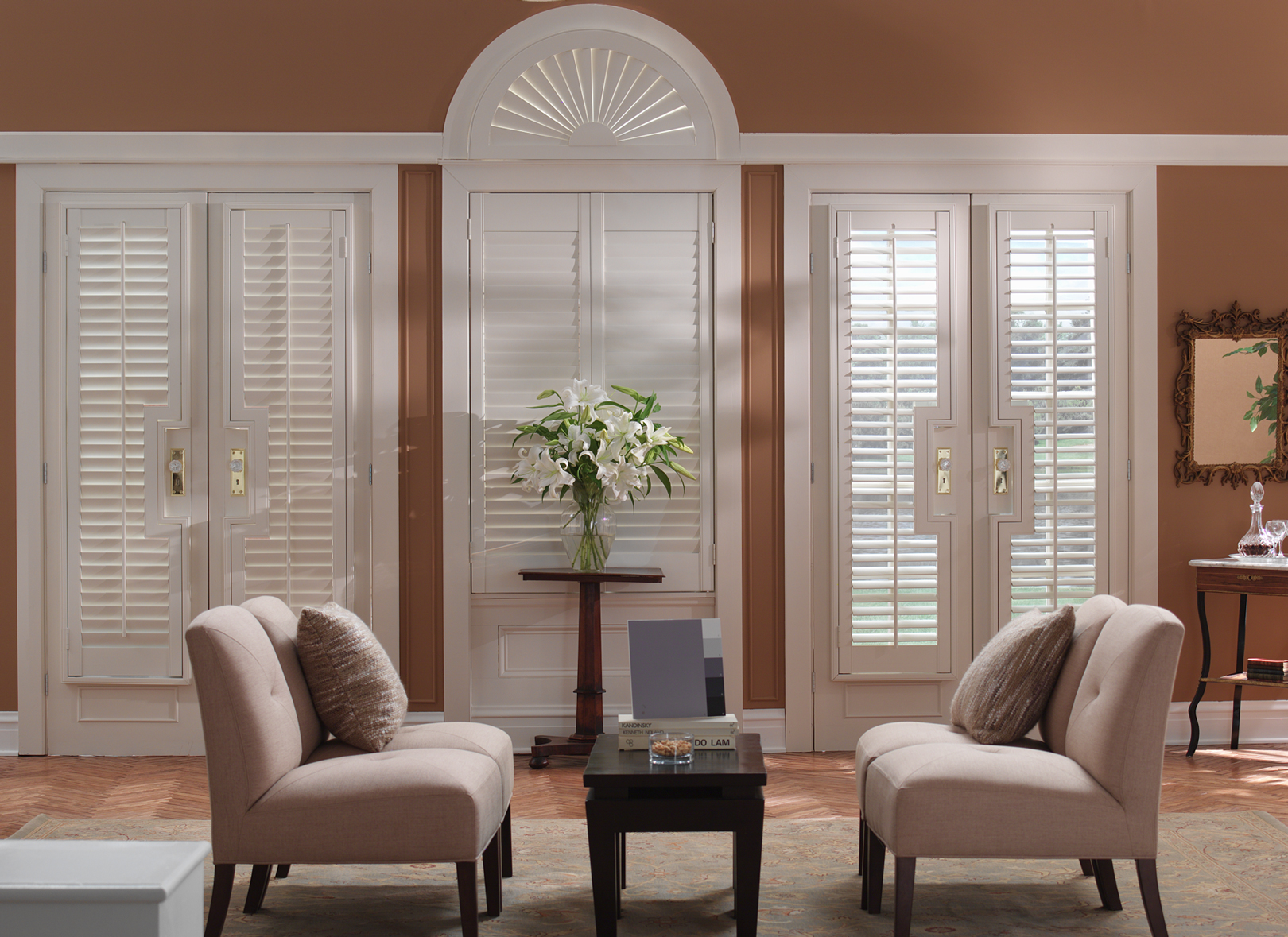 Shutters from 3 blind mice window coverings san diego ca - Living room picture window treatments ...