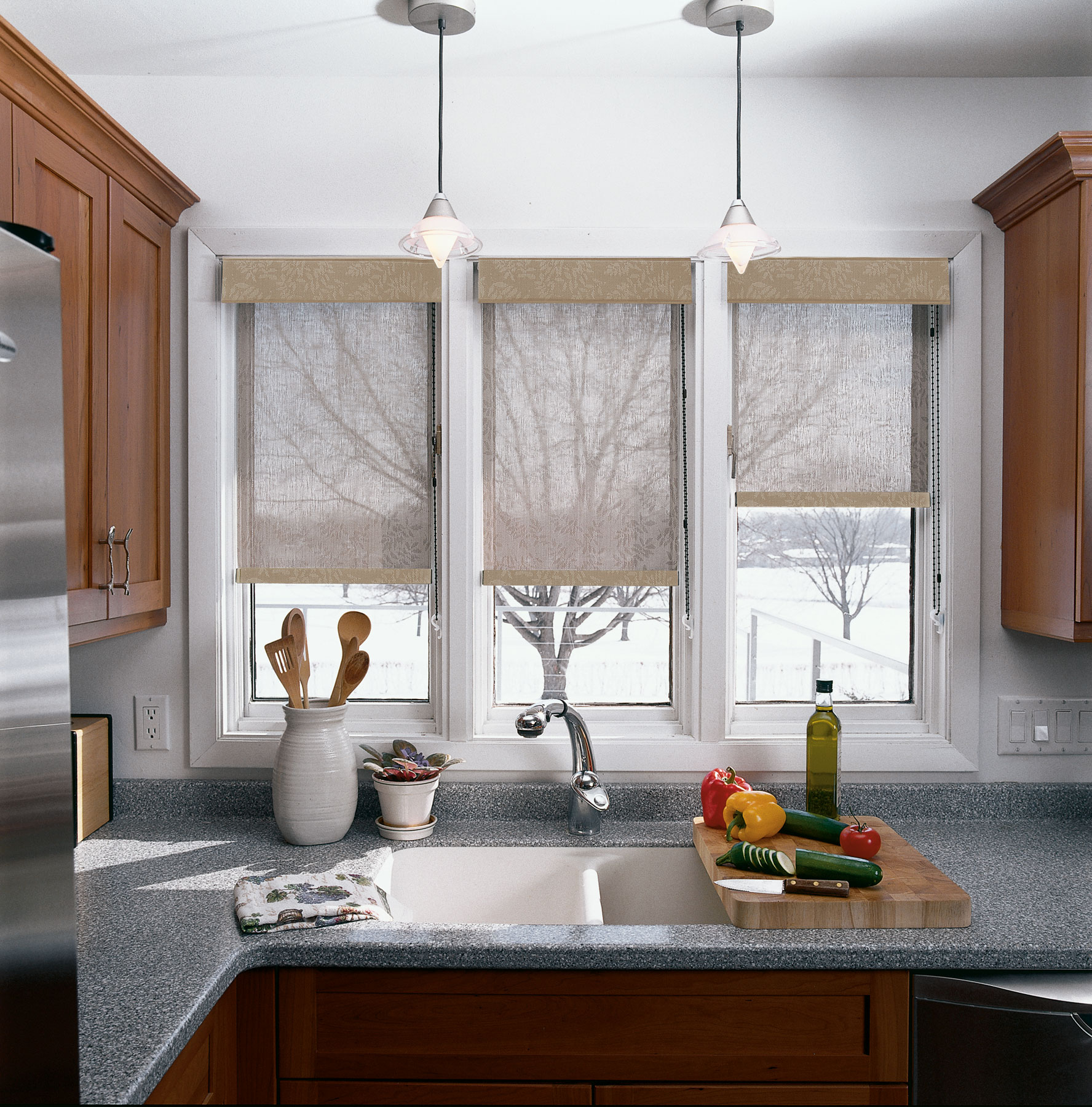 Modern Kitchen Window kitchen window treatment ideas - 3 blind mice window coverings