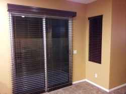 Wood Glider Blinds on Sliding Glass Door in Open Position