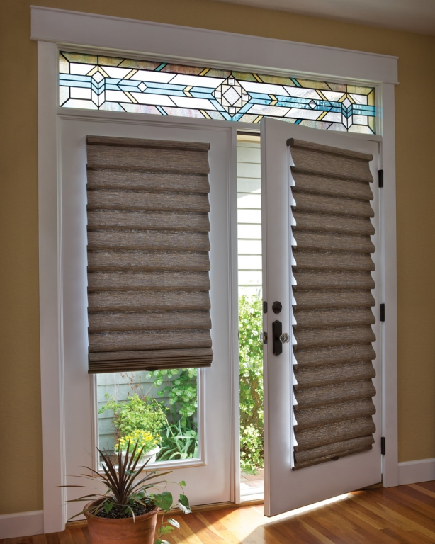 Roman shades on French door with Stained Glass