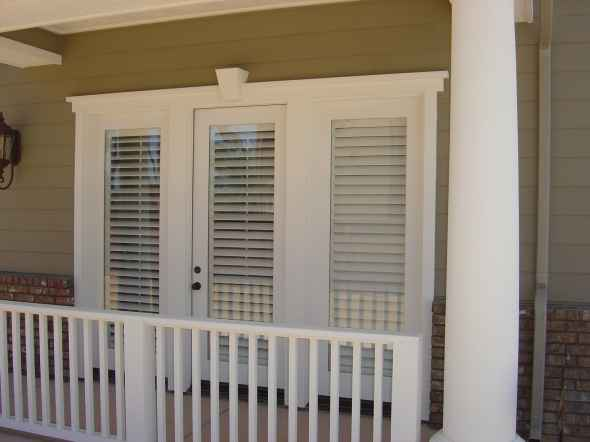 Wood Shutters on French Doors - Outside