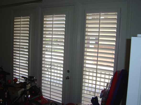 Wood Shutters on French Doors