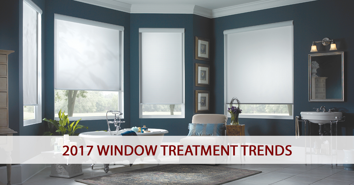 Graphic With The Copy 2017 Window Treatment Trends Overlaying A Photo Of Four White