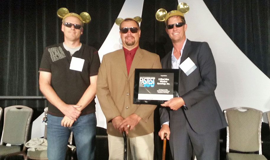 3 Blind Mice from left to right: Gregory Thompson, O'D McKewan, Scot Dietz pose with the award.