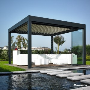 Another freestanding Renson pergola creates a palace-feel over this wading pool.