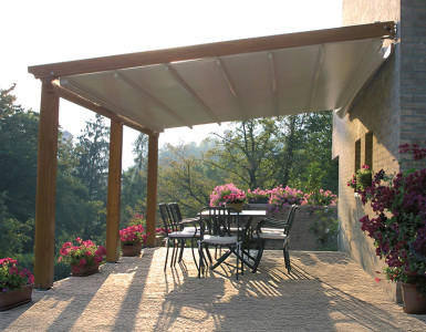 This motorized Sunair pergola is designed for larger spaces.