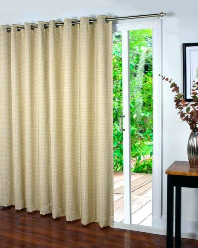 Curtains on sliding glass door.