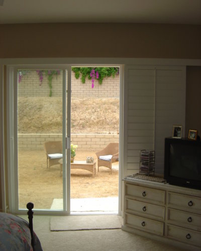 Shutters on sliding glass door.