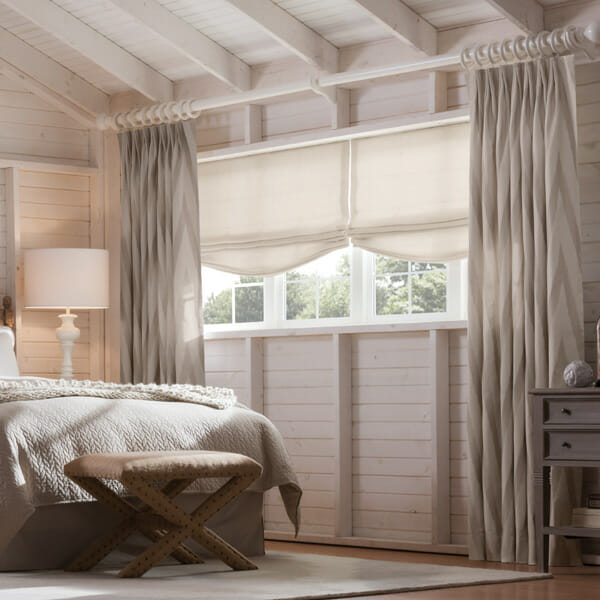 whimsical drapes with soft roman shades